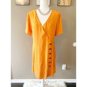 Chelsea & Violet Orange Wrap Button Dress